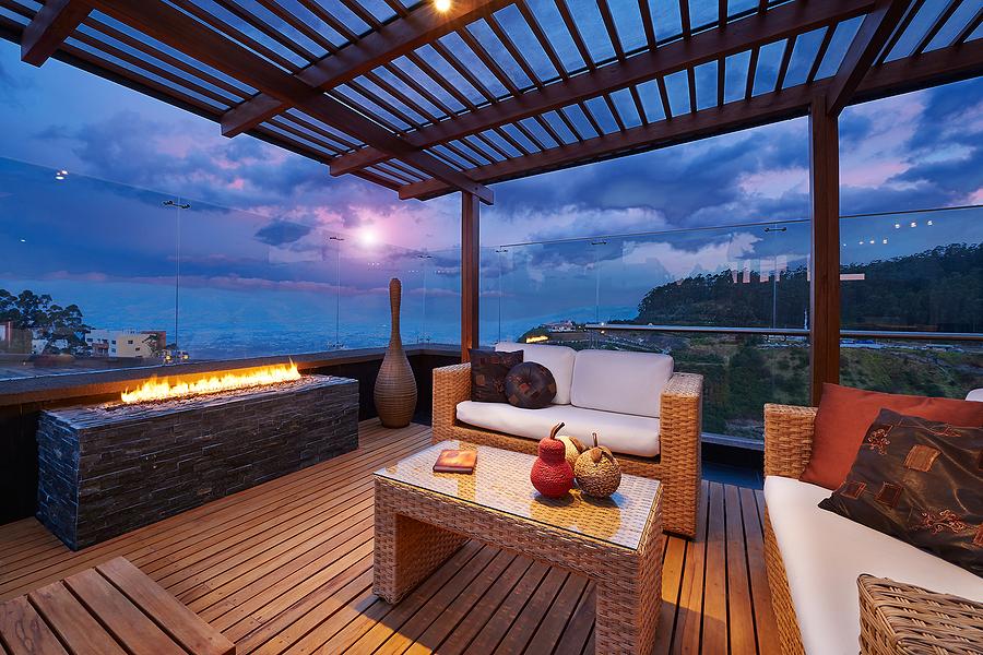 Terrace interior using bamboo decking
