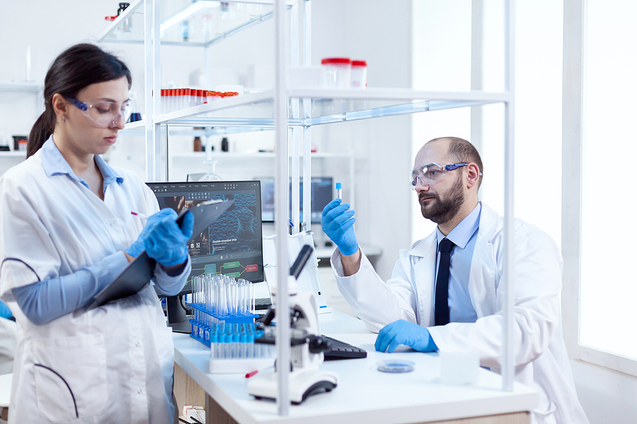 Two professionals working in a compounding pharmacy in Melbourne CBD