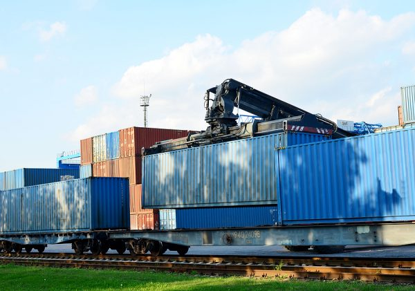 Shipping containers of freight forwarding companies