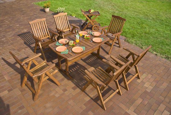 Garden with teak outdoor furniture